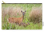Roe Deer Capreolus Capreolus With Two Fawns Carry-all Pouch