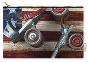 Rollar Skates With Wooden Flag Carry-all Pouch