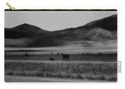 Rolling Hills And Cattle In Black And White Carry-all Pouch