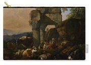 Roman Landscape With Cattle And Shepherds Carry-all Pouch by Johann Heinrich Roos