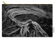 Roots Of A Fallen Tree By Wawa Ontario In Black And White Carry-all Pouch