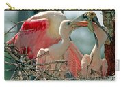 Roseate Spoonbill Feeding Young At Nest Carry-all Pouch