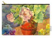 Roses And Pansies Carry-all Pouch by Julia Rowntree