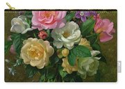Roses In A Glass Vase Carry-all Pouch by Albert Williams