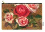 Roses In A Pot Carry-all Pouch by Pierre Auguste Renoir