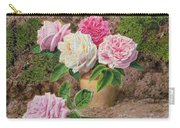 Roses In An Earthenware Vase By A Mossy Carry-all Pouch