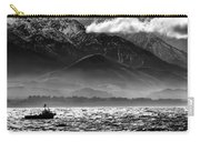 Rough Seas Kaikoura New Zealand In Black And White Carry-all Pouch