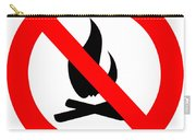 Round Fire Ban Sign Symbol Isolated On White Carry-all Pouch