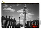 Routemaster Bus On Black And White Background Carry-all Pouch