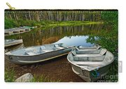 Row Boats Lining A Lake In Mammoth Lakes California Carry-all Pouch by Jamie Pham