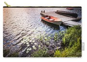 Rowboat At Lake Shore At Sunrise Carry-all Pouch by Elena Elisseeva