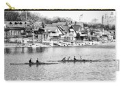 Rowing Along The Schuylkill River In Black And White Carry-all Pouch