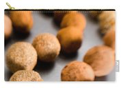 Rows Of Chocolate Truffles On Silver Carry-all Pouch