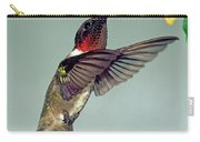 Ruby-throated Hummingbird Male At Flower Carry-all Pouch