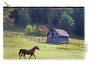 Running Horse And Old Barn Carry-all Pouch