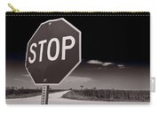Rural Stop Sign Bw Carry-all Pouch