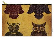 Rustic Aged 4 Owls Carry-all Pouch
