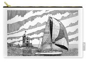 Holland Harbor Lighthouse And Spinaker Flying Sailboat Carry-all Pouch