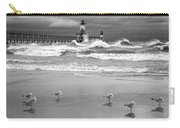 Saint Joseph Michigan Lighthouses Stormy Day At Silver Beach I Bw Carry-all Pouch