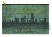 San Francisco California Skyline Silhouette Distressed On Worn Peeling Wood Carry-all Pouch