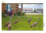 Sandhill Cranes On The Lawn By The Statue Of Mary In Homer-alaska Carry-all Pouch