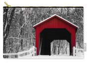 Sandy Creek Cover Bridge With A Touch Of Red Carry-all Pouch