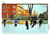 Saturday Afternoon Hockey Practice At The Neighborhood Rink Montreal Winter City Scene Carry-all Pouch by Carole Spandau
