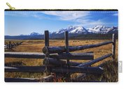 Sawtooth Mountains And Wooden Fence Carry-all Pouch