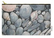 Scallop Shell And Black Stones Carry-all Pouch