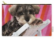 Schnauzer Puppy Looking Over Top Carry-all Pouch