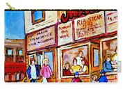 Scooting By The Main Steakhouse Authentic Montreal Paintings Prints Originals Commissions C Spandau Carry-all Pouch