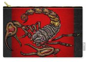 Scorpion On Red And Black Leather Carry-all Pouch
