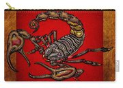 Scorpion On Red And Brown Leather Carry-all Pouch