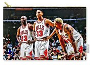 Scottie Pippen With Michael Jordan And Dennis Rodman Carry-all Pouch by Florian Rodarte