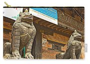 Sculptures Of Protector Figures In Front Of Sufata Buddhist College In Patan Durbar Square Carry-all Pouch