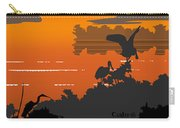 Abstract Tropical Birds Sunset Large Pop Art Nouveau Landscape 4 - Right Side Carry-all Pouch