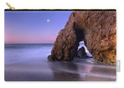 Sea Arch And Full Moon Over El Matador Carry-all Pouch by Tim Fitzharris