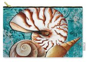 Sea Shells Original Coastal Painting Colorful Nautilus Art By Megan Duncanson Carry-all Pouch by Megan Duncanson
