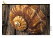 Sea Snail Shell On Old Wood Carry-all Pouch