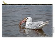 Seagull Eating Huge Fish In Water Art Prints Carry-all Pouch
