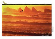 Seagull Soaring Over The Surf At Sunset Oregon Coast Carry-all Pouch