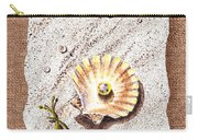 Seashell With The Pearl Sea Star And Seaweed  Carry-all Pouch