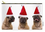 Seasons Greetings Christmas Caroling Pug Dogs Wearing Santa Claus Hats Carry-all Pouch