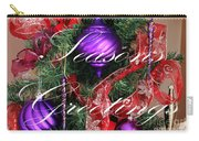 Seasons Greetings - Greeting Card - Purple - Red - Gold Carry-all Pouch