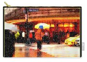 Season's Greetings - Yellow And Blue Umbrella - Holiday And Christmas Card Carry-all Pouch