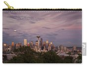 Seattle Skyline With Moonrise And Space Needle Carry-all Pouch