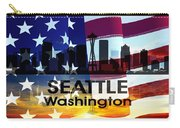 Seattle Wa Patriotic Large Cityscape Carry-all Pouch