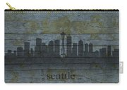 Seattle Washington City Skyline Silhouette Distressed On Worn Peeling Wood Carry-all Pouch