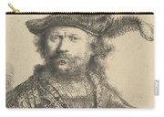 Self Portrait In A Velvet Cap With Plume Carry-all Pouch by Rembrandt