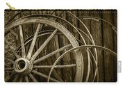 Sepia Photo Of Broken Wagon Wheel And Rims Carry-all Pouch